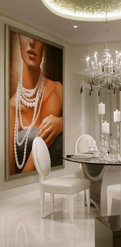 Luxury and Glamorous White Dining Room    For more luxury dining room ideas visit http://www.bocadolobo.com/en/products/#cat-tables-desks
