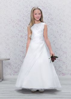 Emmerling First Communion Dress - 70172 - NEW 2016 - Elegant Full Length Satin A line Communion Dress - Age 7, 8, 9, 10, 11, 12 years - Girls 1st Holy Communion Dress - White Holy Communion Gown