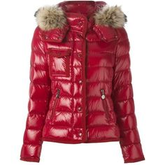 Moncler raccoon fur trim padded jacket ($1,775) ❤ liked on Polyvore featuring outerwear, jackets, red, flap jacket, long sleeve jacket, moncler jackets, moncler and straight jacket