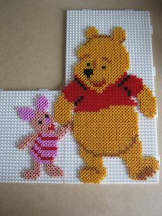 Winnie the Pooh and Piglet hama perler beads by Hama Beads Disney, Perler Bead Disney, Disney Hama Beads Pattern, Perler Bead Templates, Diy Perler Beads, Perler Bead Art, Hama Beads Coasters, Melty Bead Patterns, Pearler Bead Patterns