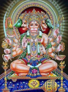 Panchamukha Hanuman Homa is unique as it invokes five forms of Hanuman that represent powerful temples of India. Hanuman Photos, Hanuman Images, Krishna Images, Rudra Shiva, Shiva Shakti, Durga Maa, Hindu Art, Hanuman Jayanthi, Egypt