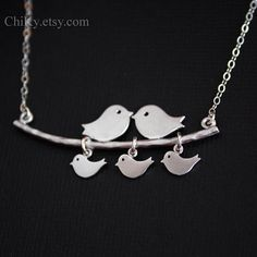 Bird necklace family necklace STERLING SILVER  family by chiky, $33.00