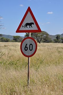 A Road sign in Namibia.