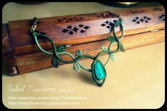 leaves macrame necklace by Tribal Macrame. In Facebook and Etsy