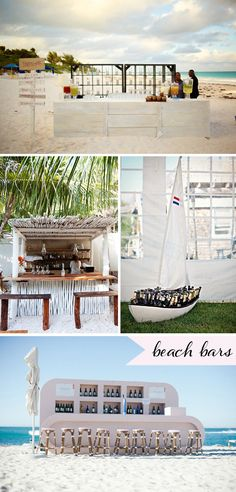 Ideas for beach wedding bars right on the sand. Great for receptions on the beach or post ceremony cocktail hours