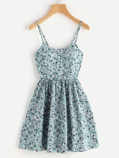 Random Ditsy Print Crisscross Back A Line Cami Dress Only US$14.00