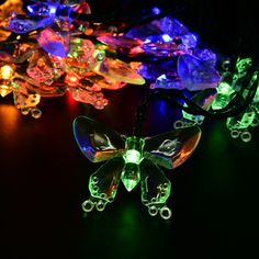 Hosyo Solar Powered Outdoor Fairy String Lights, Crystal Butterfly Solar String Fairy Waterproof Lights Christmas Lights for Garden, Patio, Yard, Home, Christmas Tree, Parties(16 feet, 20 LED)