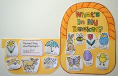 """What's In My Basket? craftivity for spring or Easter…this blog post has photos of how the basket looks closed with the spring symbols """"peeking"""" out, then after it's opened up."""