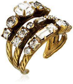 Sorrelli Core Antique Gold Tone Crystal Triple Threat Adjustable Ring ** Want additional info? Click on the image. #JewelryLover