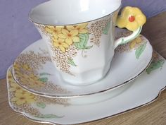 RARE Antique 1940's Melba china tea cup trio, yellow flower handle tea cup and saucer set, English tea set, bone china tea cup saucer plate on Etsy, $99.00