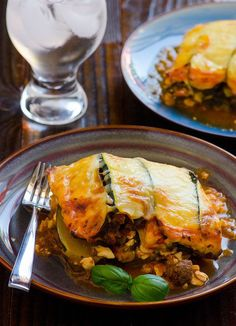 Zucchini Lasagna.  Servings Per Recipe: 8  Amount Per Serving = 1 slice: Calories: 325.5 Total Fat: 11.8 g Cholesterol: 69.5 mg Sodium: 761.5 mg Total Carbs: 19.1 g Dietary Fiber: 2.4 g Protein: 37.3 g