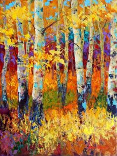 Autumn painting with colorful fall leaves.