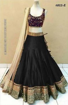 Black Casual Wear Lehenga Choli Textile Mall Textile Now at TextileMall. Party Wear Lehenga, Bridal Lehenga Choli, Silk Lehenga, Chiffon Saree, Anarkali, Lehnga Dress, Lehenga Blouse, Sharara, Indian Dresses