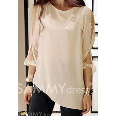 $8.41 Stylish and Sexy Cut Out Shoulder White Chiffon Shirt For Women