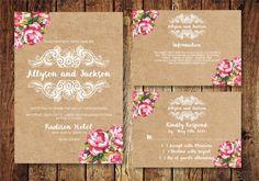 Vintage Hochzeit Einladung Suite, Kraft Papier Floral Hochzeit einladen, digitale PDF, personalisierte Einladung zur Hochzeit
