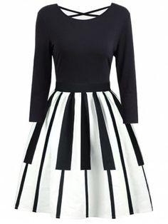 Details about Vintage Piano Print Criss Cross Retro Dress Party Swing Dress - Lady Fashion Mode Chic, Mode Style, Vestidos Vintage, Vintage Dresses, Criss Cross, Music Dress, Vestidos Pin Up, Cool Outfits, Fashion Outfits