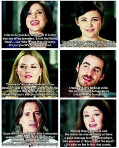 "The cast on fairytales <<<<<lana's and emile's are my faves. lana's is hysterical, and her facial expression makes it even better, and i love the meaning to emile's. also loved when robert said ""the witch creeped me out"" XD"