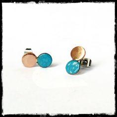 Petites Puces d'oreilles en émaux sur cuivre (verre) tige en acier inoxydable - couleurs tendance