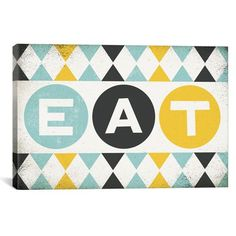 'Retro Diner (Eat)' by Michael Mullan Textual Art on Wrapped Canvas Canvas Artwork, Canvas Frame, Canvas Art Prints, Diner Decor, Retro Diner, Contemporary Wall Art, Joss And Main, Fine Art Paper, Wrapped Canvas