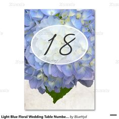 Light Blue Floral Wedding Table Number Cards Table Card