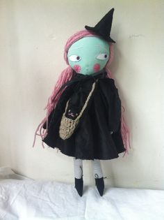 Little witch folk art doll black magic by Lindaloudoll on Etsy