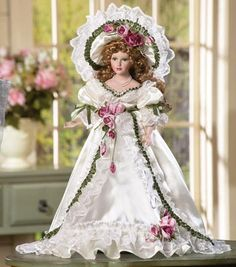 Ribbons and Roses Collectible Porcelain Doll