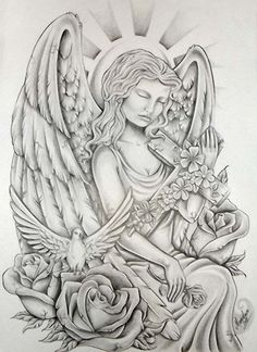 rose-flower-dove-and-sitting-angel-with-cross-tattoo-design.jpg 567×780 pixels