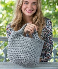 Charming Tote Free Crochet Pattern in Red Heart Yarns