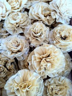 6 Recycled-Repurposed sewing pattern flowers---paper crafting, wedding,gift wrap Marah JOhnson