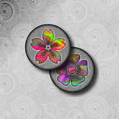 Digital collage sheet  colorful flowers 2 inch circle round images fridge magnets fractal art collage sheet round by StudioDprint