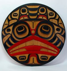 Haida-4-Foot-Diameter-Dogfish-Red-Cedar-Panel-Disc-Signed-Northwest-Coast-Art