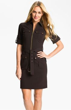 MICHAEL Michael Kors Roll Sleeve Belted Shirtdress | Nordstrom
