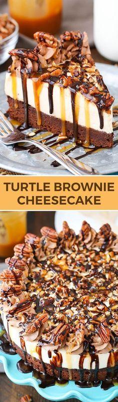 Cheesecake Turtle Brownie Cheesecake - brownie bottom, caramel cheesecake, and pecans!Turtle Brownie Cheesecake - brownie bottom, caramel cheesecake, and pecans! Mini Desserts, No Bake Desserts, Just Desserts, Delicious Desserts, Tasty Meals, Diabetic Desserts, Plated Desserts, Fall Dessert Recipes, Desert Recipes