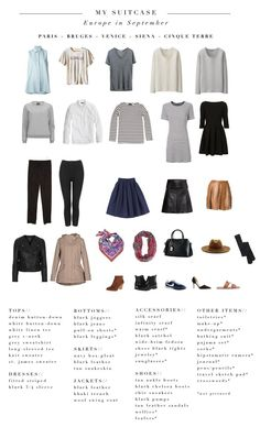 Travel wear · revised packing list for europe in mid-september - includes more warm layers backpacking europe September Outfits, Europe In September, Europe Spring, Travel Capsule, Travel Wear, Travel Outfit Summer, Travel Style, Packing For Europe, Packing List For Travel