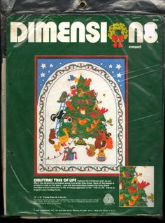 "VINTAGE 1985 DIMENSIONS ""CHRISTMAS TREE OF LIFE"" CREWEL EMBROIDERY KIT ~ SEALED"