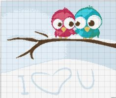 Cross-stitch Owls Love... no color chart available, just use the pattern chart as your color guide.. or choose your own colors... Gallery.ru / Фото #1 - Разная мелочь - 2 - anethka