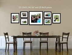 I like the arrangement of larger pictures with the same frames, above dining room table.