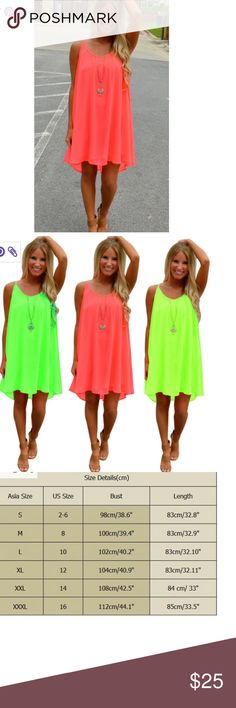 Coming Soon! Beautiful flowy summer dress or tunic. Gorgeous color!  Chiffon. Runs small. Size up a size. Dresses Mini