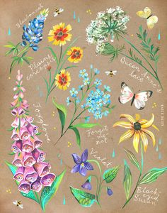 Wildflower Chart on Kraft | Katie Daisy Art | Floral Painting | Wall art | 8x10 | 11x14