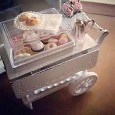 Miniature shabby tea cart.