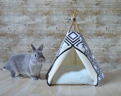 Rabbit teepee Guinea Pig bed Kitten tent with pillow - geometric pattern - black & white - scandinavian design