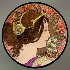 Mucha - Primrose, kilnfired glass painting. For sale at the Etsy shop of Stained Glass Elements.  Mucha, sleutelbloem, gebrandschilderd glas, Mucha glas in lood, Mucha, brandschilderen, Mucha brandschilderen, Mucha ornament, glas ornament...