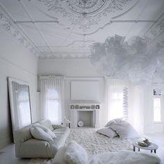 All white living room loft