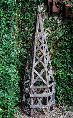 Wood Lattice Structure - garden obelisk