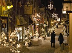 Quebec City winter cropped and added to a plaque or printed with Christmas wording (Joy, Peace, etc) on opaque paper and wrapped around inside of cylindrical candle holder and add a battery operated candle for a beautiful glow.
