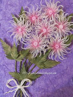 Quilled bouquet of chrysanthemums