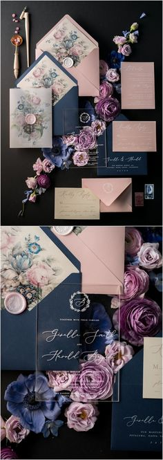 Navy and pink vintage wedding invitations 01/ACGN/z #weddings #navywedding #pinkwedding #vintageweddings #weddinginvitation #weddinginvitations