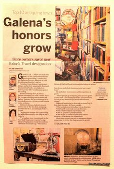 All That's Vintage: Galena (IL) Antique Stores Receive Recognition From Local Newspaper
