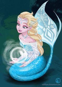 Elsa as a Mermaid by  Nabilum