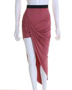 LOVE Raspberry Asymmetric Drape Skirt